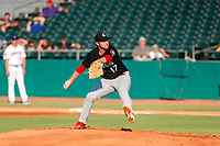 Chattanooga Lookouts starting pitcher Michael Byrne (17) delivers a pitch to the plate against the Tennessee Smokies at Smokies Stadium on June 18, 2021, in Kodak, Tennessee. (Danny Parker/Four Seam Images)