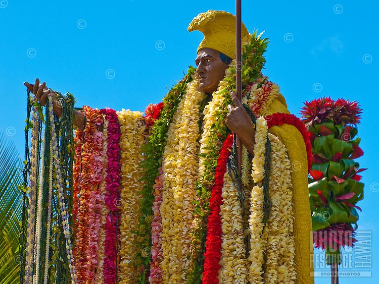 Leis on King Kamehameha statue, King Kamehameha Day Parade, North Kohala, Kapa'au town.