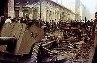 UNGARN, 10.1956.Budapest, VIII. Bezirk.Ungarn-Aufstand / Hungarian uprising 23.10.-04.11.1956:.Sowjetische Panzerabwehrkanonen in der Práter Str. unweit des Corvin-Komplexes, der eine Hauptbastion der Aufstaendischen war, nach dem Waffenstillstand vom 28.10.56..Soviet anti tank guns in Prater street not far from the Corvin complex, one of the main strongholds of the insurgents, after the ceasefire of oct. 28..© Jenö Kiss/EST&OST