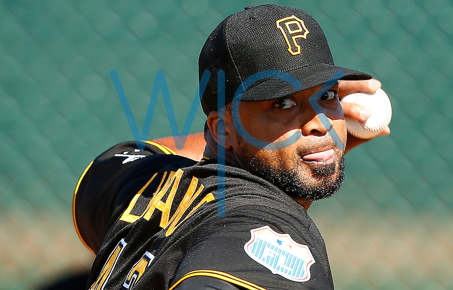 Francisco Liriano #47 of the Pittsburgh Pirates pitches in the bullpen during spring training at Pirate City in Bradenton, Florida on February 20, 2016. (Photo by Jared Wickerham / DKPS)