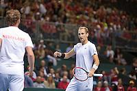 Switserland, Genève, September 19, 2015, Tennis,   Davis Cup, Switserland-Netherlands, Doubles: Dutch team Matwe Middelkoop/Thiemo de Bakker (R)  photo 3<br /> Photo: Tennisimages/Henk Koster