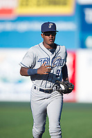 Tri-City Dust Devils center fielder Angel Solarte (9) jogs off the field between a Northwest League game against the Everett AquaSox at Everett Memorial Stadium on September 3, 2018 in Everett, Washington. The Everett AquaSox defeated the Tri-City Dust Devils by a score of 8-3. (Zachary Lucy/Four Seam Images)