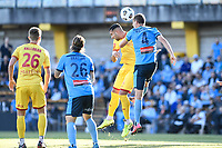 18th April 2021; Leichardt Oval, Sydney, New South Wales, Australia; A League Football, Sydney Football Club versus Adelaide United; Alex Wilkinson of Sydney wins a clearing header against George Timotheou of Adelaide United