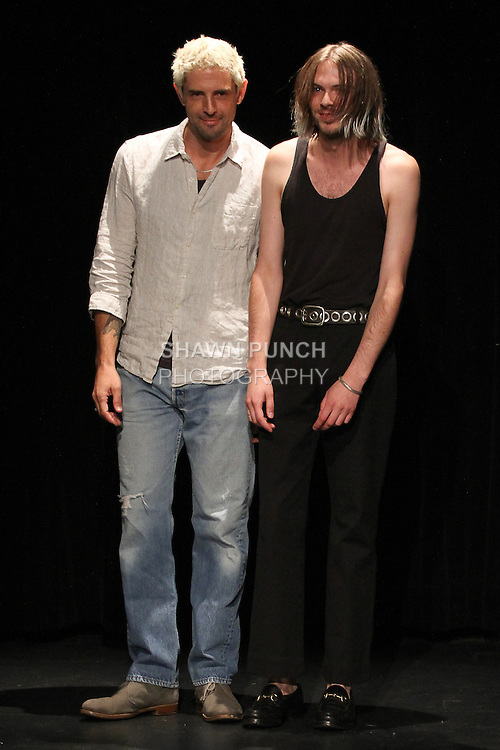 Fashion designers Sam Linder (left) and Kirk Millar thank audience for attending their Linder Spring Summer 2017 collection fashion show on July 11 2016, during New York Fashion Week Men's Spring Summer 2017.