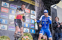 Champaign shower for race winner Philippe Gilbert (BEL/Quick Step floors) & 3rd finisher, teammate Niki Terpstra (NED/Quick-Step Floors)<br /> <br /> 101th Ronde Van Vlaanderen 2017 (1.UWT)<br /> 1day race: Antwerp › Oudenaarde - BEL (260km)