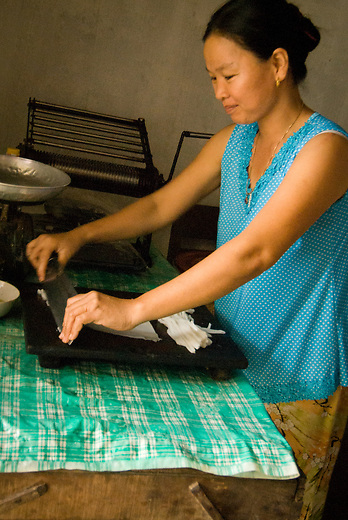 A woman makes rice noodles in a small village outside of Hoi An, Vietnam. Rice and noodles are the more traditional foods eaten by the Vietnamese, although you will find lovely French breads, a tradition brought to Vietnam by the French which the Vietnamese choose to hold on to.
