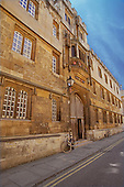 Oxford, Oxfordshire, England.Entry and exterior wall of Corpus Christi College, Oxford University..©Ellen B. Senisi