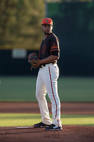 AZL Giants Black starting pitcher Luis Moreno (28) prepares to deliver a pitch during an Arizona League game against the AZL Athletics at the San Francisco Giants Training Complex on June 19, 2018 in Scottsdale, Arizona. AZL Athletics defeated AZL Giants Black 8-3. (Zachary Lucy/Four Seam Images)