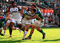 9th October 2021; Brentford Community Stadium, Brentford, London; Gallagher Premiership Rugby, London Irish versus Leicester Tigers; Ben Youngs of Leicester Tigers tackled by Agustin Creevy of London Irish