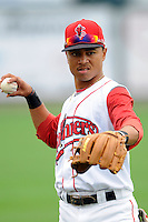 Lowell Spinners infielder Mookie Betts #7  prior to a game versus the State College Spikes at LeLacheur Park in Lowell, Massachusetts on July 29, 2012. (Ken Babbitt/Four Seam Images)
