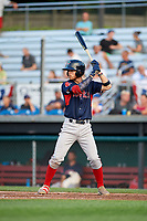Lowell Spinners shortstop Korby Batesole (12) at bat during a game against the Auburn Doubledays on July 13, 2018 at Falcon Park in Auburn, New York.  Lowell defeated Auburn 8-5.  (Mike Janes/Four Seam Images)
