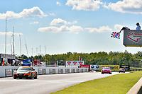 IMSA Continental Tire SportsCar Challenge<br /> Mobil 1 SportsCar Grand Prix<br /> Canadian Tire Motorsport Park<br /> Bowmanville, ON CAN<br /> Saturday 8 July 2017<br /> 56, Porsche, Porsche Cayman, ST, Jeff Mosing, Eric Foss, checkered flag, win, winner, finish line<br /> World Copyright: Scott R LePage/LAT Images