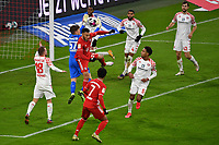3rd January 2021, Allianz Arean, Munich Germany; Bundesliga Football, Bayern Munich versus FSV Mainz;  Finn DAHMEN  (Goalie FSV Mainz 05) goes to collect the ball above Corentin TOLISSO  (Bayern)