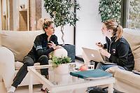 sports nutritionist Stephanie Scheirlynck meeting with Jolanda Neff (SUI/Trek-Segafredo) at the Trek-Segafredo training camp<br /> <br /> Mallorca jan2019<br /> <br /> ©kramon