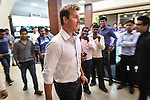 8 October 2013, New Delhi, India. Recently retired Australian cricket star Brett Lee poses for frenzied local fans and media on a low key shopping trip to Saket Mall in New Delhi. He is in India to show off his latest fashion lines and to foster greater interest in Australian - Indian business interactions.  Picture by Graham Crouch