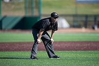 Field umpire A.J. Choc during a Northwest League game between the Tri-City Dust Devils and the Everett AquaSox at Everett Memorial Stadium on September 3, 2018 in Everett, Washington. The Everett AquaSox defeated the Tri-City Dust Devils by a score of 8-3. (Zachary Lucy/Four Seam Images)