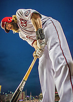 20 May 2014: Washington Nationals outfielder Jayson Werth grips his bat on deck during play against the Cincinnati Reds at Nationals Park in Washington, DC. The Nationals defeated the Reds 9-4 to take the second game of their 3-game series. Mandatory Credit: Ed Wolfstein Photo *** RAW (NEF) Image File Available ***