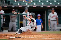 Indianapolis Indians second baseman Erich Weiss (6) slides home safely during a game against the Buffalo Bisons on August 17, 2017 at Coca-Cola Field in Buffalo, New York.  Buffalo defeated Indianapolis 4-1.  (Mike Janes/Four Seam Images)
