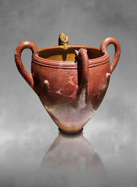 Bronze Age Anatolian four handled terra cotta vase with reliefs - 19th - 17th century BC - Kültepe Kanesh - Museum of Anatolian Civilisations, Ankara, Turkey.