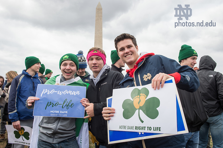 January 27, 2017; Notre Dame students hold up their signs for the National March for Life in Washington, D.C.  (Photo by Barbara Johnston/University of Notre Dame)