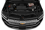 Car Stock 2021 Chevrolet Suburban Premier 5 Door SUV Engine  high angle detail view