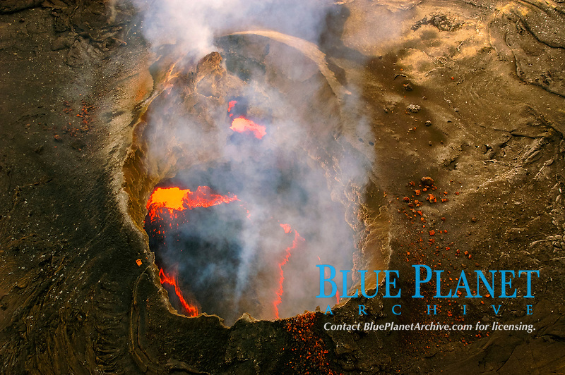 Lava and smoke inside Pu'u'o'o vent, Kilauea Volcano, Hawaii Volcanoes National Park, Big Island, Hawaii, USA