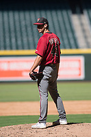 Arizona Diamondbacks relief pitcher Brian Shaffer (43) looks to his catcher for the sign during an Instructional League game against the Kansas City Royals at Chase Field on October 14, 2017 in Phoenix, Arizona. (Zachary Lucy/Four Seam Images)