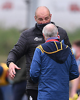 29th May 2021; Sixways Stadium, Worcester, Worcestershire, England; Premiership Rugby, Worcester Warriors versus Leicester Tigers; Steve Borthwick Director of Rugby for Leicester Tigers talks with Alan Solomons Director of Rugby for Worcester Warriors after the match with Leicester Tigers winning 17-18