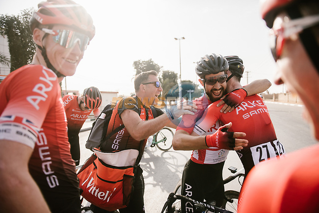 Red Jersey Nacer Bouhanni (FRA) Team Arkea-Samsic wins Stage 4 of the Saudi Tour 2020 running 137km from Wadi Namar Park to Al Muzahimiyah King Saud University, Saudi Arabia. 7th February 2020. <br /> Picture: ASO/Pauline Ballet | Cyclefile<br /> All photos usage must carry mandatory copyright credit (© Cyclefile | ASO/Pauline Ballet)