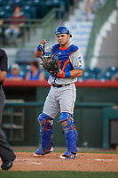 St. Lucie Mets catcher Brandon Brosher (25) during a game against the Florida Fire Frogs on April 19, 2018 at Osceola County Stadium in Kissimmee, Florida.  St. Lucie defeated Florida 3-2.  (Mike Janes/Four Seam Images)