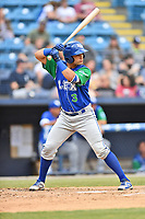 Lexington Legends catcher Sebastian Rivero (3) awaits a pitch during a game against the Asheville Tourists at McCormick Field on May 25, 2018 in Asheville, North Carolina. The Tourists defeated the Legends 6-4. (Tony Farlow/Four Seam Images)