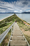 """The stairway to the Truganini Lookout which overlooks the narrow isthmus known as """"The Neck"""" which connects North Bruny Island to South Bruny Island in Tasmania, Australia."""