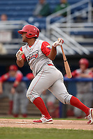Williamsport Crosscutters designated hitter Wilson Garcia (25) at bat during the second game of a doubleheader against the Batavia Muckdogs on July 29, 2014 at Dwyer Stadium in Batavia, New York.  Batavia defeated Williamsport 1-0 in 11 innings.  (Mike Janes/Four Seam Images)