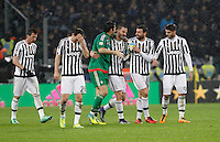 Calcio, Serie A: Juventus vs Inter. Torino, Juventus Stadium, 28 February 2016.<br /> Juventus' players, from left, Stephan Lichsteiner, Mario Mandzukic, Gianluigi Buffon, Leonardo Bonucci, Andrea Barzagli and Alvaro Morata celebrate at the end of the Italian Serie A football match between Juventus and Inter at Turin's Juventus Stadium, 28 February 2016. Juventus won 2-0.<br /> UPDATE IMAGES PRESS/Isabella Bonotto