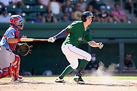 Center fielder Tyler Esplin (25) of the Greenville Drive in a game against the Hickory Crawdads on Sunday, August 29, 2021, at Fluor Field at the West End in Greenville, South Carolina. The catcher is David Garcia (13). (Tom Priddy/Four Seam Images)