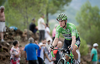 Green Jersey Sam Bennett (IRL/Bora-Hansgrohe) up the steepest part of the brutal Mas de la Costa: the final climb towards the finish<br /> <br /> Stage 7: Onda to Mas de la Costa (183km)<br /> La Vuelta 2019<br /> <br /> ©kramon
