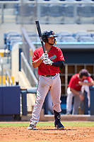 FCL Twins catcher Wilfri Castro (37) bats during a game against the FCL Rays on July 20, 2021 at Charlotte Sports Park in Port Charlotte, Florida.  (Mike Janes/Four Seam Images)