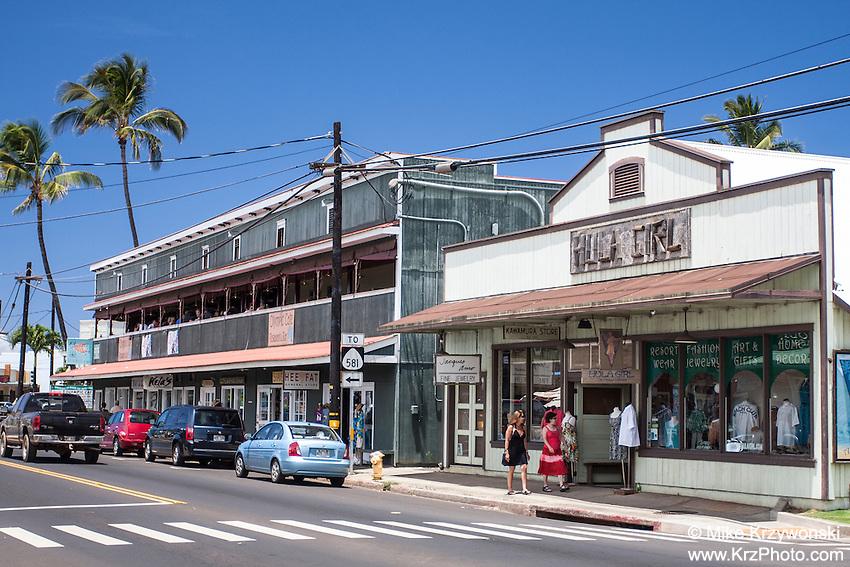 Historic shop buildings in downtown Kapa'a, Kauai, Hawaii