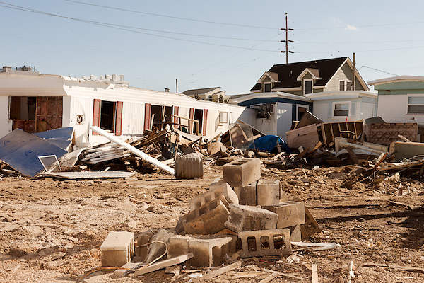 February 27, 2013. Holgate, New Jersey. Destroyed homes in a trailer park that has no livable residences after Hurricane Sandy hit the area.. Tracing the path of Hurricane Sandy, which wrecked havoc on the northeastern seaboard from October 25-31, 2012. The storm caused flooding and caused an estimated 60 billion dollars worth of damage to affected areas.
