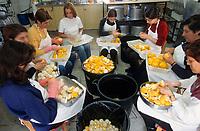 """Europe/Chypre/Agros : Préparation des fruits confits de la montagne de Troodos chez """"Nikis"""" - Epluchage des oranges amères"""