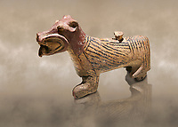 Hittite Terra cotta lion shaped ritual vessel - 16th century BC - Hattusa ( Bogazkoy ) - Museum of Anatolian Civilisations, Ankara, Turkey