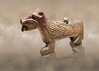 Hittite Terra cotta lion shaped ritual vessel - 16th century BC - Hattusa ( Bogazkoy ) - Museum of Anatolian Civilisations, Ankara, Turkey