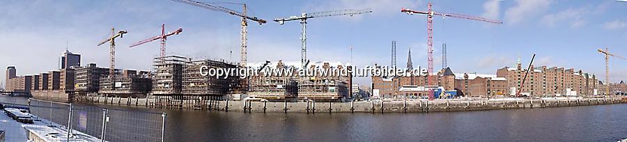 Deutschland, Hamburg, Specherstadt, Hafencity, Am Sandtorkai, Baustelle, Winter, Sandtorhafen, Panorama