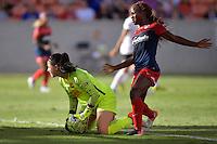 Houston, TX - Sunday Oct. 09, 2016: Sabrina D'Angelo, Francisca Ordega during a National Women's Soccer League (NWSL) Championship match between the Washington Spirit and the Western New York Flash at BBVA Compass Stadium.