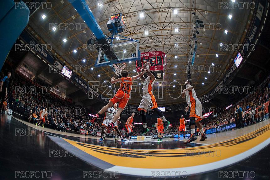 VALENCIA, SPAIN - December 2: John Shurna, Chris Babb during EUROCUP match between Valencia Basket Club and Ratiopharm ULM at Fonteta Stadium on December 2, 2015