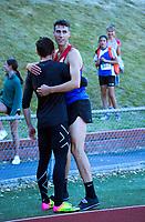 Hamish Kerr celebrates winning the elite men's high jump. 2021 Capital Classic athletics at Newtown Park in Wellington, New Zealand on Saturday, 20 February 2021. Photo: Dave Lintott / lintottphoto.co.nz