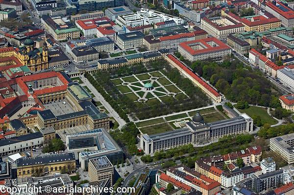 aerial photograph of the Hofgarten, Court Garden, Munich, Bavaria, Germany | Luftbild Hofgarten, München, Deutschland