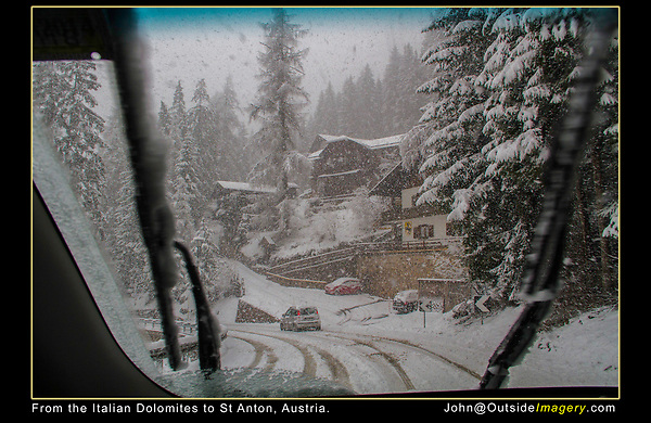 Italy, Dolomites.  Winter Driving.<br /> Being a skier from Colorado, this doesn't bother me, too much. With six driving trips to Europe and 12 countries, I've driven in lots of conditions.  Pertinent stats: 135 nights and 13,000+ miles driven, no accidents.  Snowstorm on drive from Canazei, Italy to St Anton, Austria.