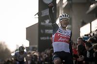 Jasper Stuyven (BEL/Trek-Segafredo) wins the race in a duo-sprint againt Yves Lampaert (BEL/Deceuninck-QuickStep)<br /> <br /> 75th Omloop Het Nieuwsblad 2020 (1.UWT)<br /> Gent to Ninove (BEL): 200km<br /> <br /> ©kramon