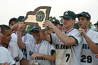 June 12, 2010:  Lindenhurst first baseman Jon McGibbon (7) and his team celebrate defeating Guilderland during the NYSPHAA Class-AA State Championship game at Binghamton University in Binghamton, NY.  Lindenhurst defeated Guilderland by the score of 15-2.  McGibbon was seleced in the 29th round by the Seattle Mariners of the 2010 MLB draft but chose to attend Clemson University to play for the Bulldogs.  Photo By Mike Janes/Four Seam Images